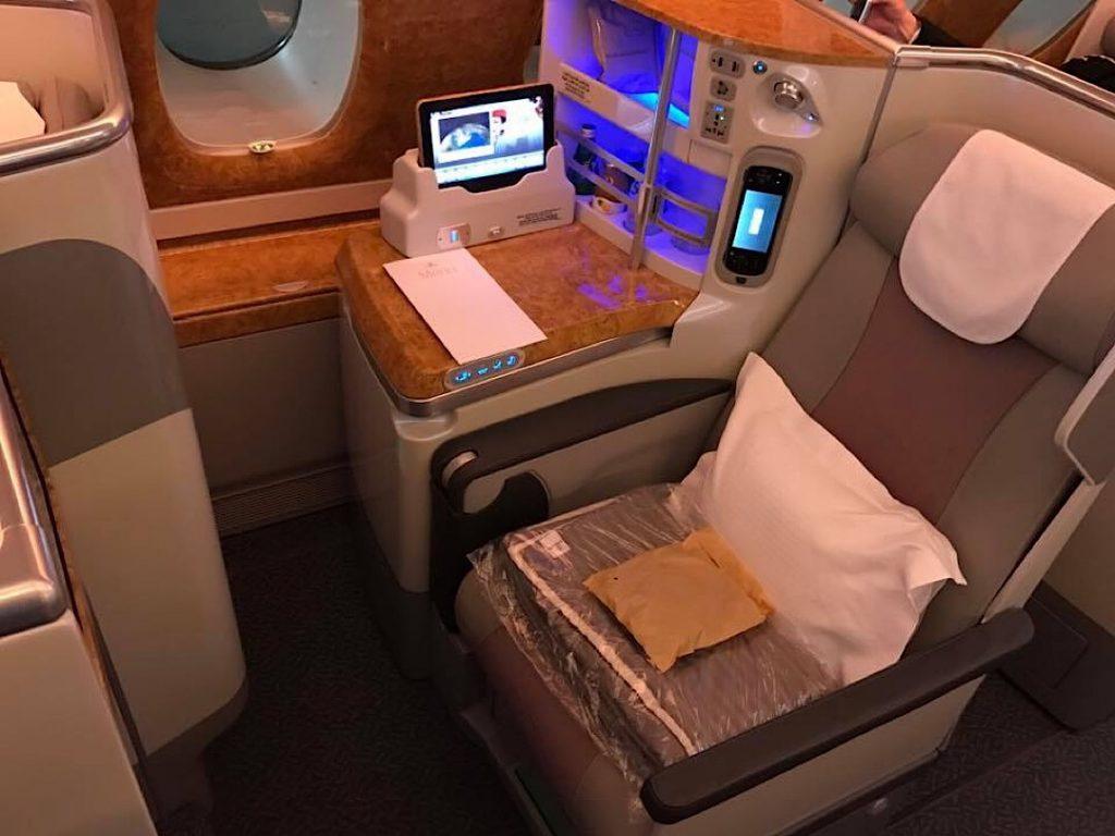 Emirates biznis trieda Airbus A380